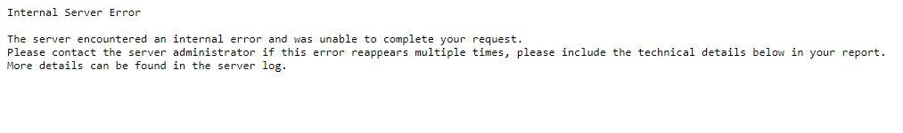 Interner Server Error