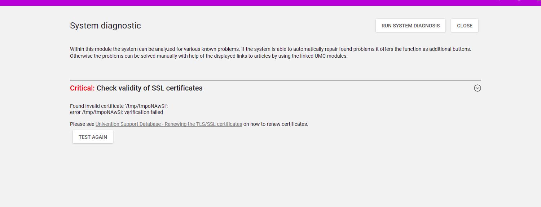 Problem Ssl Certificate Error In System Diagnostic Community