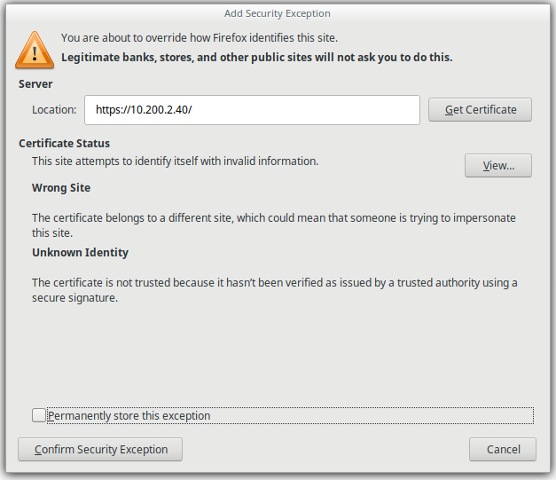 How-to: Accept self signed certificate in Mozilla Firefox