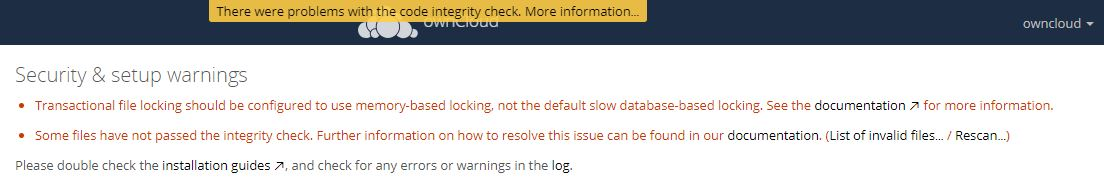 ownCloud-Warning